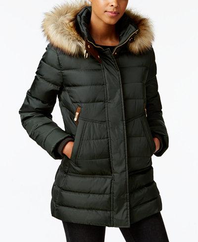 Vince Camuto Faux-Fur-Trim Hooded Puffer Coat - Coats - Women - Macy's