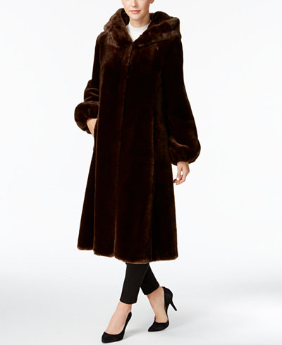 Jones New York Faux-Fur Hooded Maxi Coat - Coats - Women - Macy's