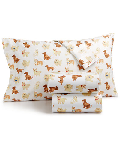Martha Stewart Collection Show Dogs 100% Cotton Flannel Sheet Sets, Created for Macy's