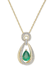 Emerald (9/10 ct. t.w.) & Diamond (1/5 ct. t.w.) Teardrop Pendant Necklace in 14k Gold(Also Available in Ruby and Sapphire)