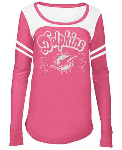 5th & Ocean Miami Dolphins Pink Slub Long Sleeve T-Shirt, Girls (4-16)