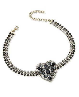Anna Sui x I.N.C. Gold-Tone Ombré Crystal Heart Choker Necklace, Created for Macy's