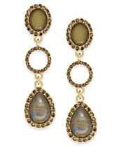 INC International Concepts Gold-Tone Multi-Stone Triple-Drop Earrings, Created for Macy's