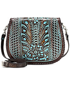 Patricia Nash Turquoise Tooled Savini Saddle Bag