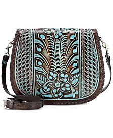 Patricia Nash Savini Turquoise Tooled Leather Saddle Bag