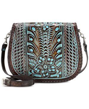 Patricia Nash Turquoise Tooled Savini Saddle Bag 4755591
