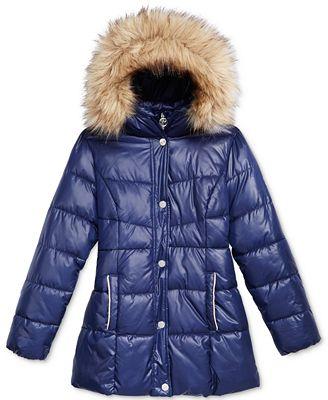 Michael Kors Stadium Puffer Jacket with Faux-Fur Trim, Toddler ...