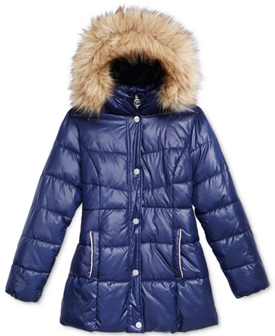 Michael Kors Stadium Puffer Jacket with Faux-Fur Trim, Little ...