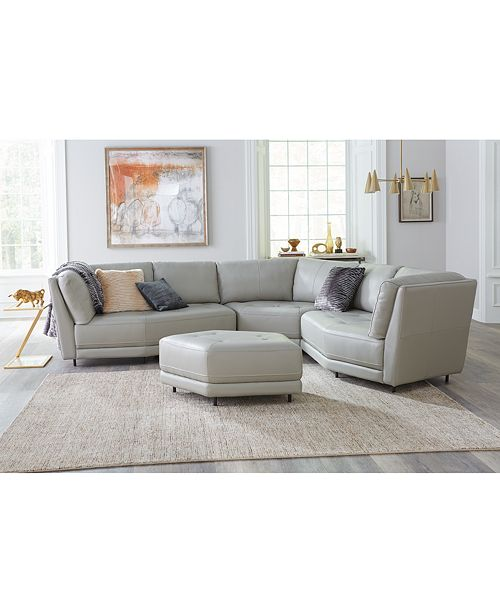 Furniture CLOSEOUT! Belice 3-Pc. Leather Modular Sofa with 3 ...