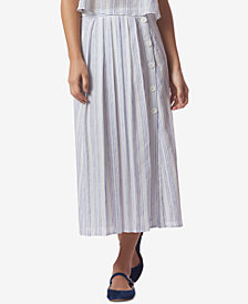 Avec Les Filles Striped Pleated Side-Button Midi Skirt