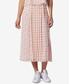 Avec Les Filles Constellation-Print Pleated Side-Button Midi Skirt