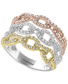 Trio by EFFY® Diamond Tri-Color Linked Ring (3/4 ct. t.w.) in 14k Yellow, White & Rose Gold