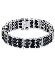 Black Sapphire (50 ct. t.w.) & Diamond Accent Link Bracelet in Sterling Silver