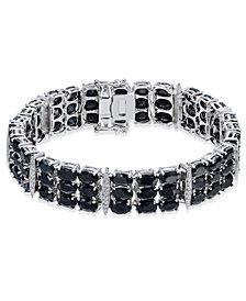 Black Sapphire (50 ct. t.w.) & Diamond Accent Link Bracelet in Sterling Silver