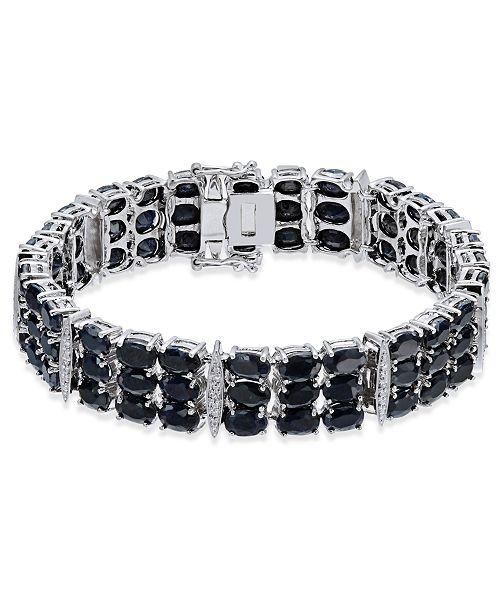 Macy's Black Sapphire (50 ct. t.w.) & Diamond Accent Link Bracelet in Sterling Silver