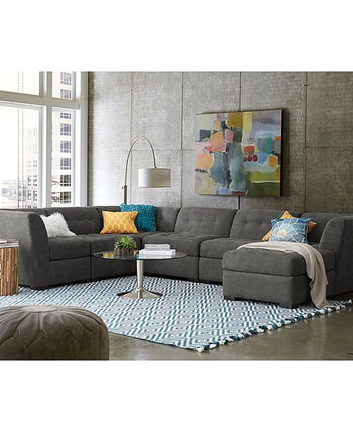 Furniture CLOSEOUT! Roxanne Fabric 6-Piece Modular Sectional Sofa ...