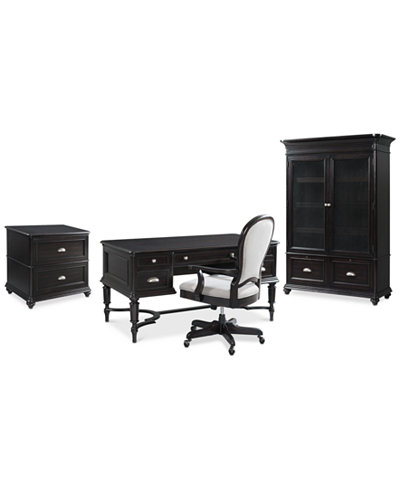 Clinton Hill Ebony Home Office Furniture Set, 4-Pc. Set (Writing Desk, Lateral File Cabinet, Door Bookcase & Desk Chair), Created for Macy's