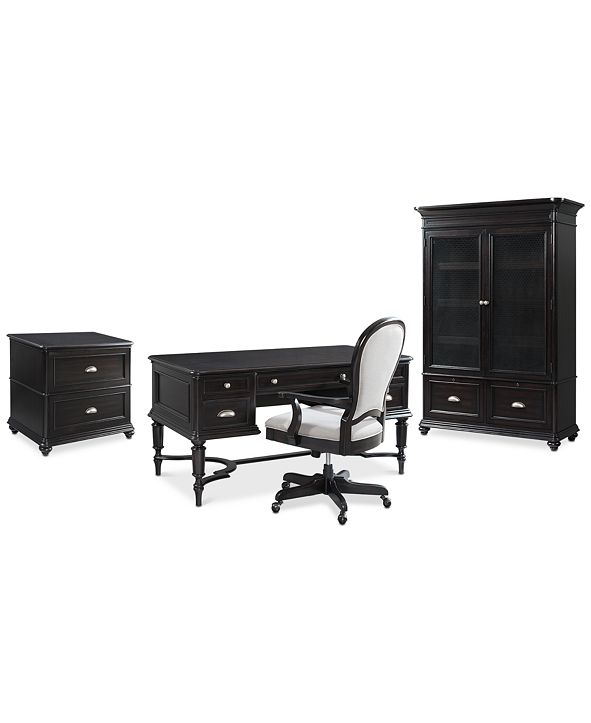 Furniture Clinton Hill Ebony Home Office Furniture Set, 4-Pc. Set (Writing Desk, Lateral File Cabinet, Door Bookcase & Upholstered Desk Chair), Created for Macy's
