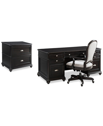 Clinton Hill Ebony Home Office Furniture Set, 3-Pc. Set (Executive Desk, Lateral File Cabinet & Desk Chair), Created for Macy's