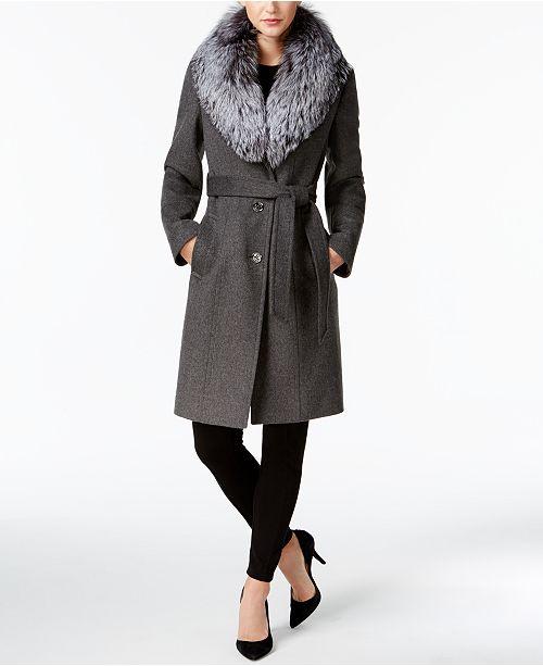 uk store sale top design Michael Kors Fox-Fur-Trim Walker Wool-Cashmere Blend Coat ...