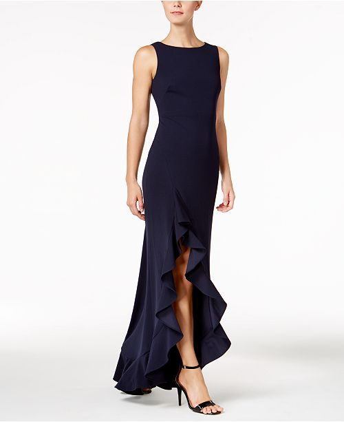 Calvin Klein Ruffled High-Low Gown