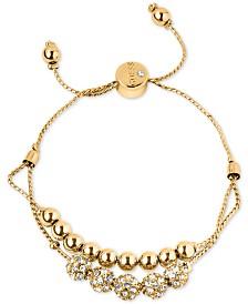 GUESS Rose Gold-Tone Pavé Beaded Double-Row Slider Bracelet