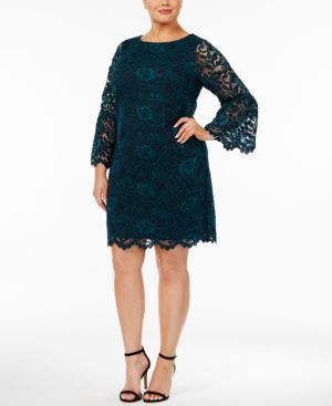 Jessica Howard Plus Size Bell-Sleeve Lace Dress 4912326