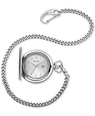 Bulova Men's Stainless Steel Pocket Watch 50mm