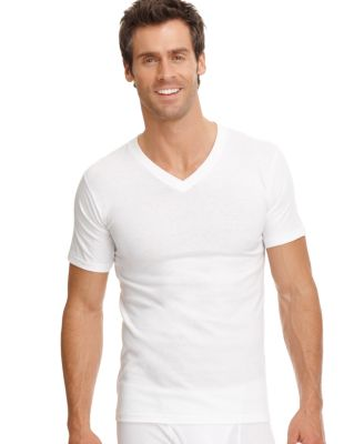 Image of jockey men's underwear, classic collection v-neck tagless Undershirt 3 pack
