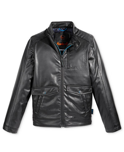 Hawke & Co. Faux-Leather Biker Jacket, Big Boys - Coats & Jackets ...