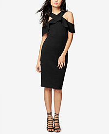 RACHEL Rachel Roy Ruffled Scuba Cold-Shoulder Dress