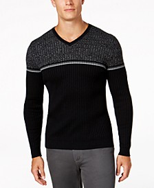 Men's Texture Stripe V-Neck Sweater, Created for Macy's