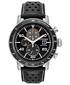 Eco-Drive Men's Chronograph Black Leather Strap Watch 44mm
