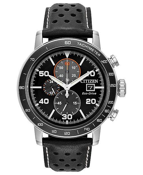 164d83ac0 Citizen Eco-Drive Men's Chronograph Black Leather Strap Watch 44mm ...