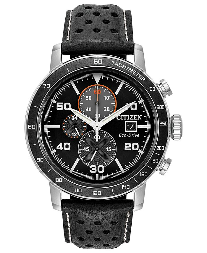 Citizen - Chronograph Eco-Drive Black Leather Strap Watch 44mm