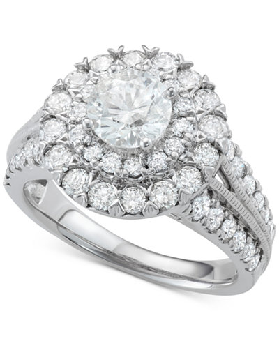 Diamond Halo Engagement Ring (2-1/2 ct. t.w.) in 14k White Gold