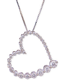 Diamond Journey Heart Pendant Necklace (3/4 ct. t.w.) in 14k White Gold