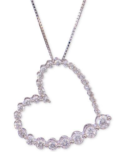 Diamond Journey Heart Pendant Necklace (3/4 ct. t.w.) in 14k White Gold