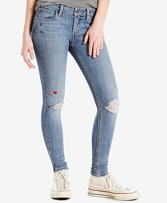 Levi's® 535™ Ripped Embellished Super Skinny Jeans - Jeans - Women ...