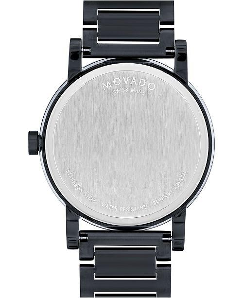 7643fb2f1 ... Movado Men's Swiss Museum Sport Black PVD-Finish Stainless Steel  Bracelet Watch 42mm 0606615 ...