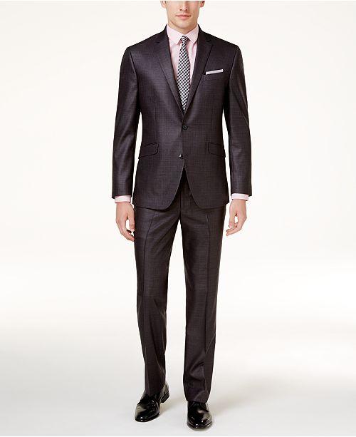 13761275fa Kenneth Cole Reaction Men s Techni-Cole Basketweave Slim-Fit Suit ...