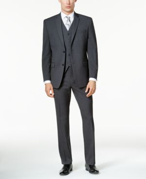Marc New York by Andrew Marc Men's Classic-Fit Charcoal Mini-Grid Vested Suit thumbnail
