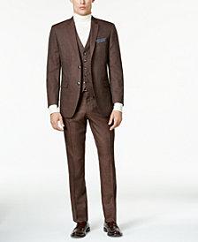 Perry Ellis Men's Slim-Fit Brown Birdseye Vested Suit