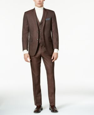 Perry Ellis Men's Slim-Fit Brown Birdseye Vested Suit thumbnail