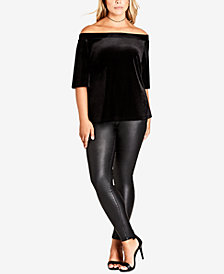 City Chic Trendy Plus Size Velvet Off-The-Shoulder Top