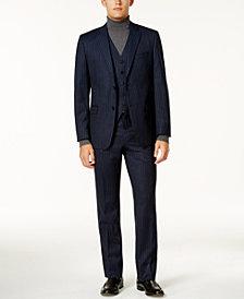 Lauren Ralph Lauren Men's Slim-Fit Navy Pinstripe Flannel Ultraflex Vested Suit