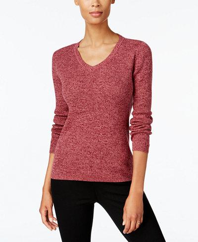 Karen Scott Petite Cotton Marled Sweater, Created for Macy's ...