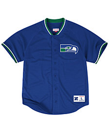 Mitchell & Ness Men's Seattle Seahawks Seasoned Pro Mesh Button Front 2.0 Shirt