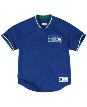 Mitchell & Ness Men's Seattle Seahawks Seasoned Pro Mesh Button Front 2.0 Shirt
