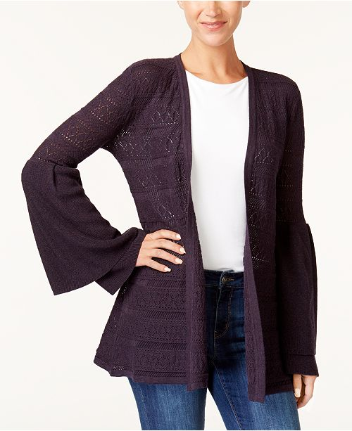 Style Co Pointelle Bell Sleeve Cardigan Created For Macys